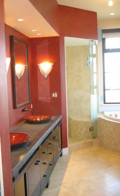 Concrete counter contemporary bath remodel by Harmonique
