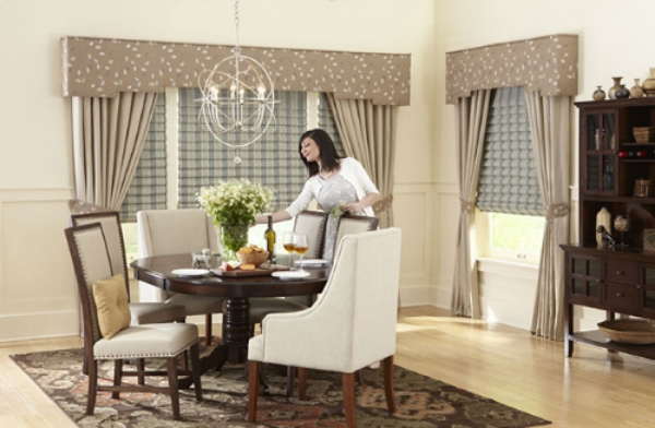 Top treatments create an elegant, finished look in this dining space