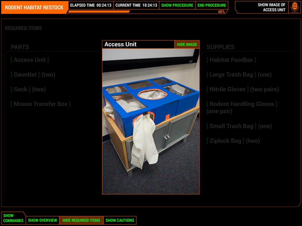IMAGE VIEW  Showing image of the tool is available at any time during a procedure. Users can use voice commands to show images of the various items.