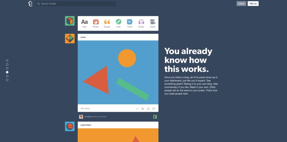Tumblr's Landing Page