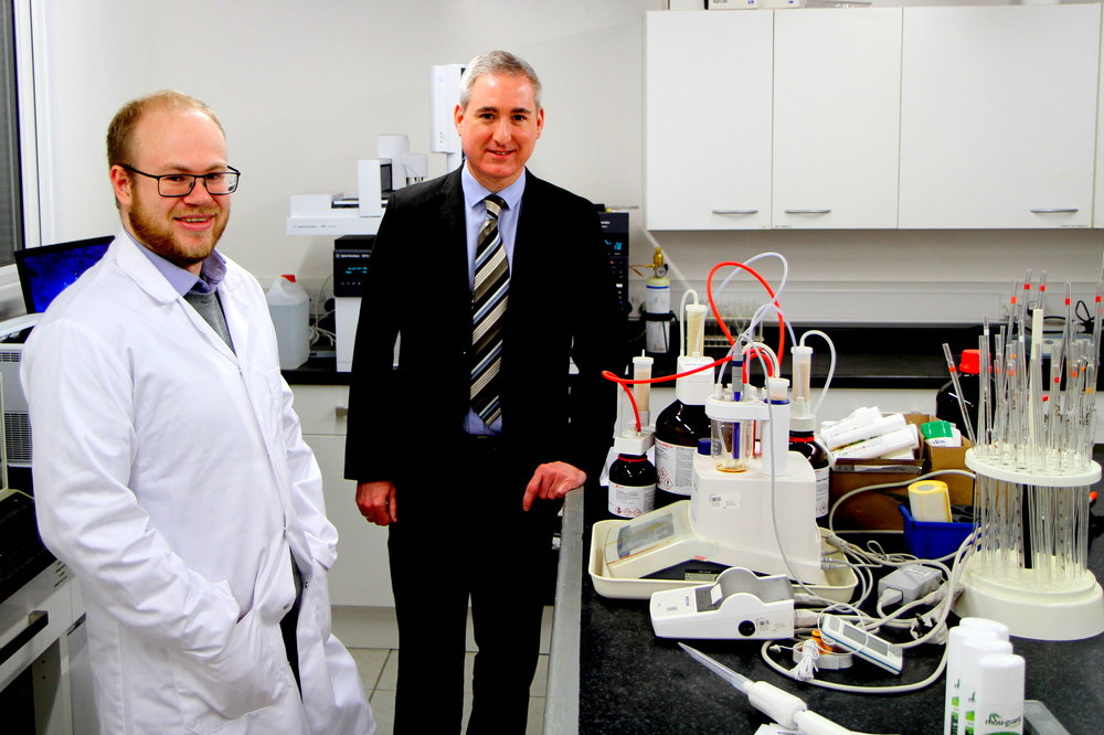L-R - George Parker, Citrefine's Scientific Officer with Mr Greg Mulholland MP
