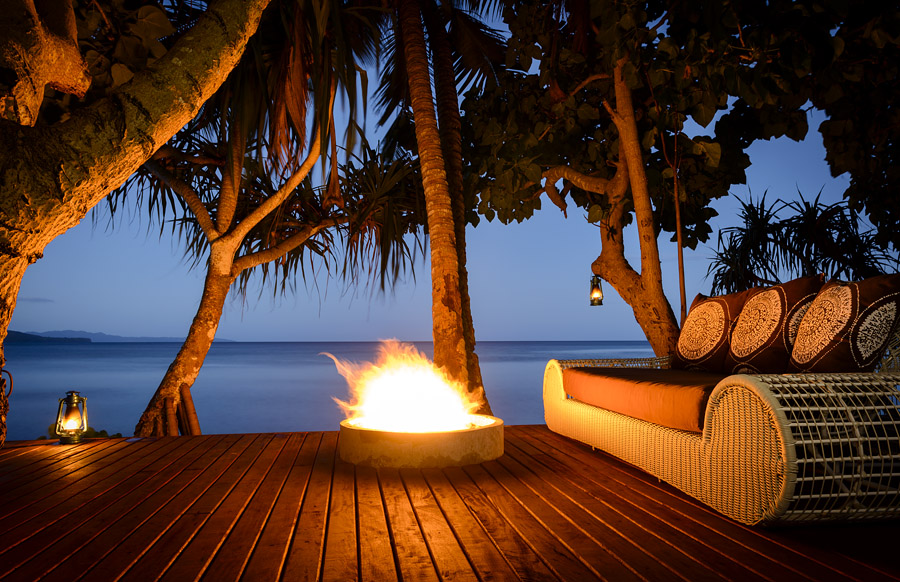 Remote Resort Fiji Islands - Romantic Beachfront fire pit deck - perfect for honeymoon or anniversary