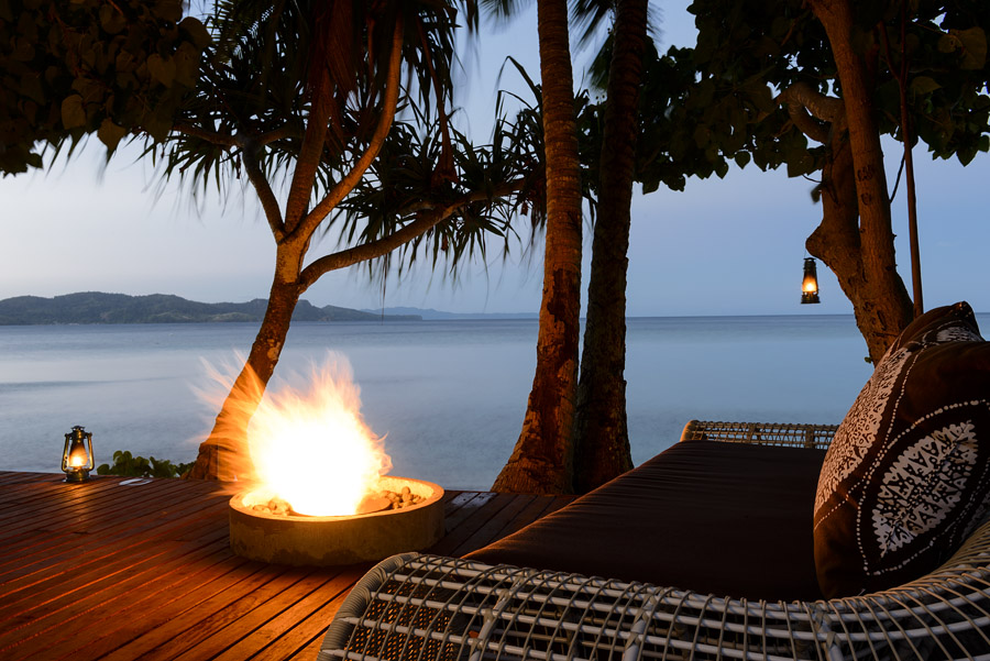 Remote Resort Fiji Islands - Beachfront Firepit deck for romantic dining - perfect honeymoon or anniversary dinner