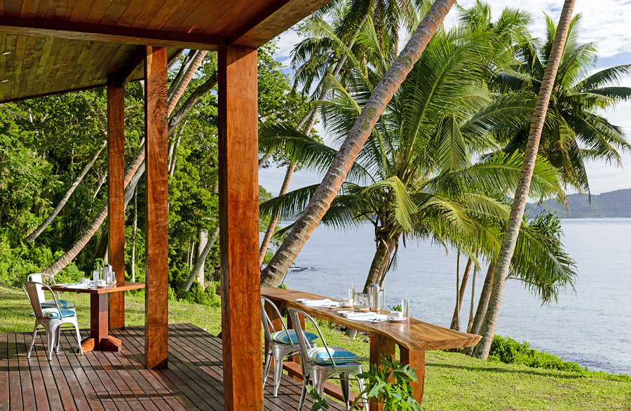 Remote Resort Fiji Islands - Dining on the deck at the Main Pavilion