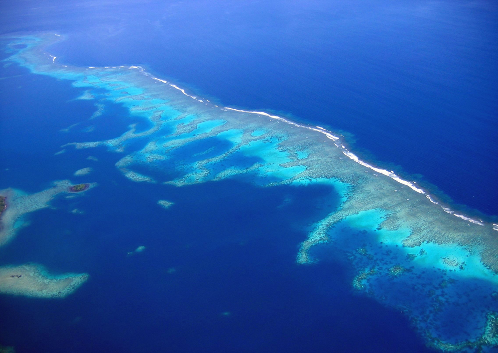 An aerial view of the Rainbow Reef located in the Somosomo strait between Taveuni and Vanua Levu