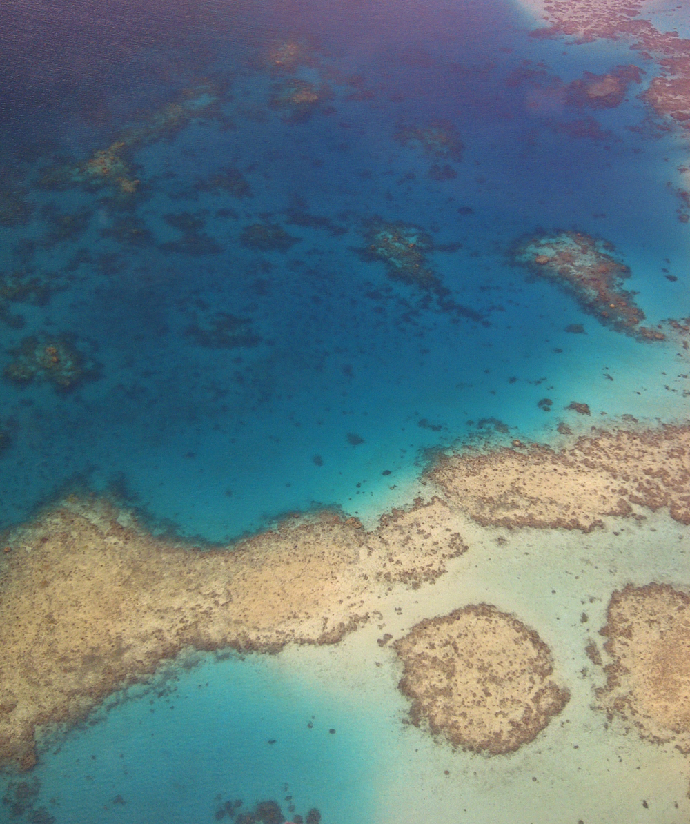 Reef spots can be seen as you fly to The Remote Resort