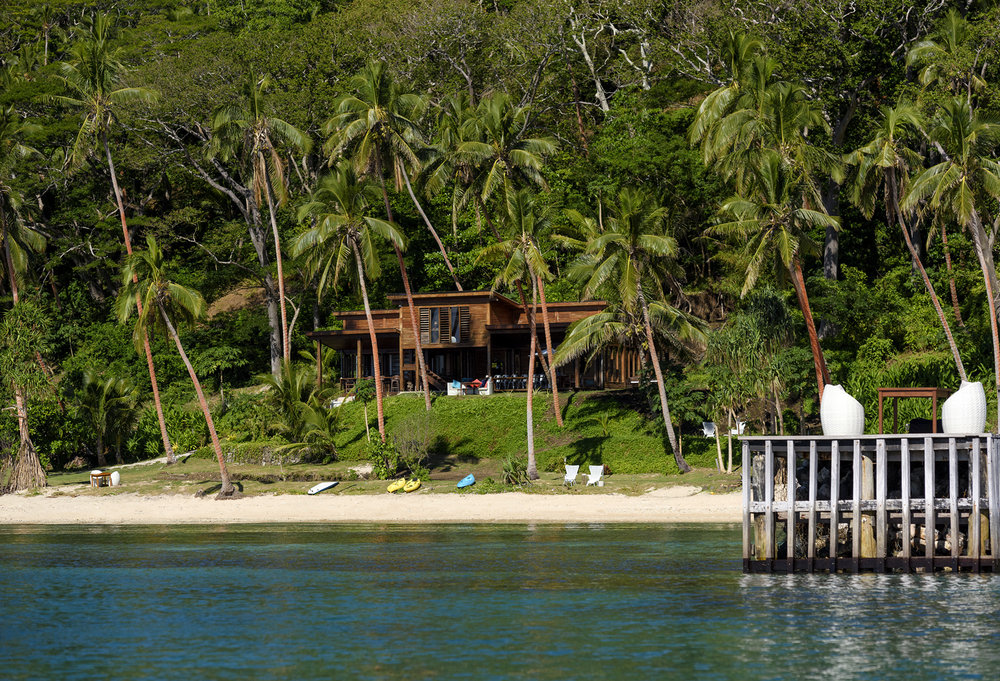 Jetty, Main Pavilion and beach from the water - The Remote Resort Fiji Islands