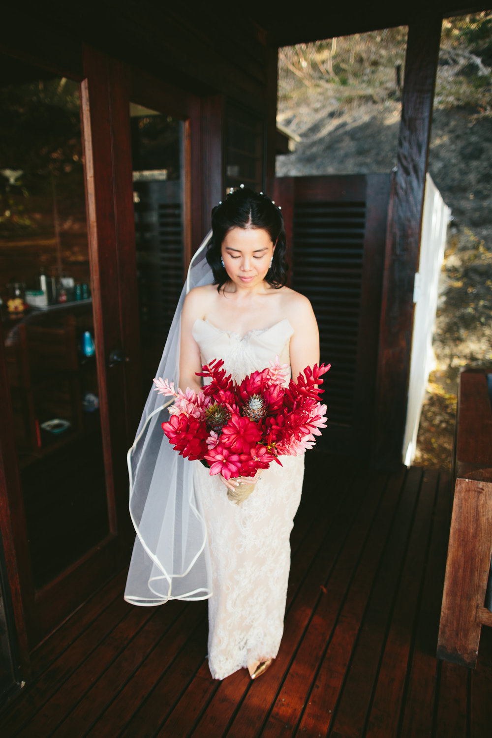 Red Ginger Bouquet - Fiji Wedding Elopement - The Remote Resort Fiji Islands