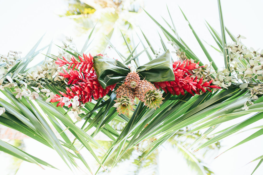 Baby pineapple and Red Ginger arch - Fiji Beach Wedding Elopement - The Remote Resort Fiji Islands