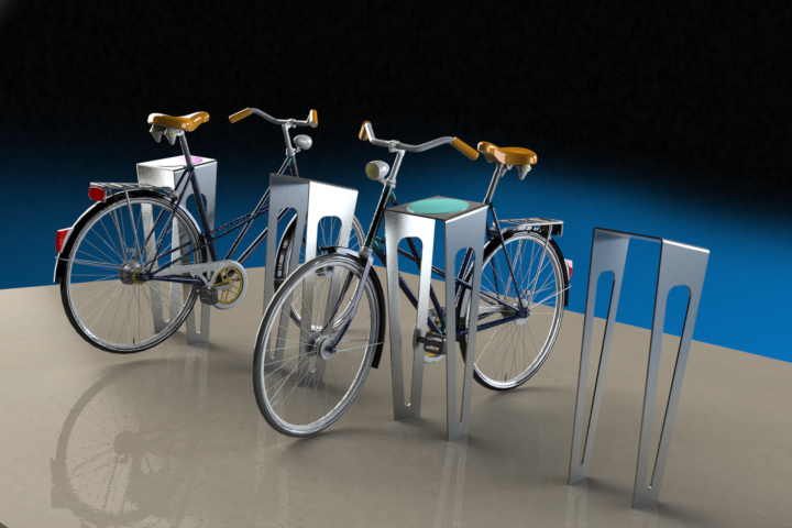 Bicycle rack concept for urban spaces.