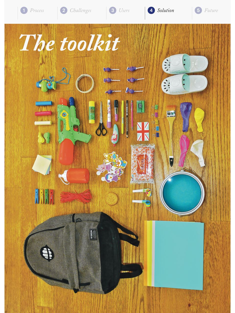 The toolkit contains different objects for the children to create their own activism material.