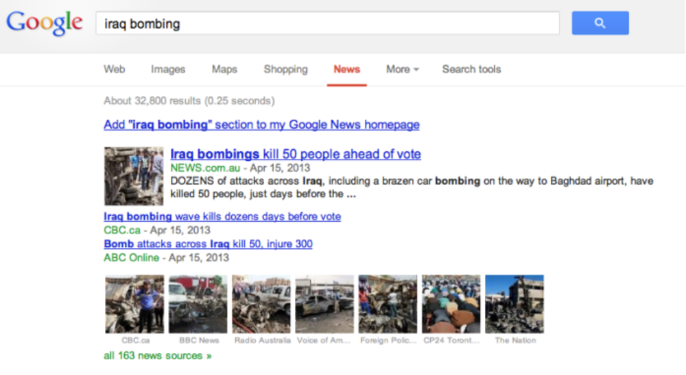 "163 news sources fom the search, ""iraq bombing,"" with 1,347,200 results less than the ""boston marathon"" search (right)"