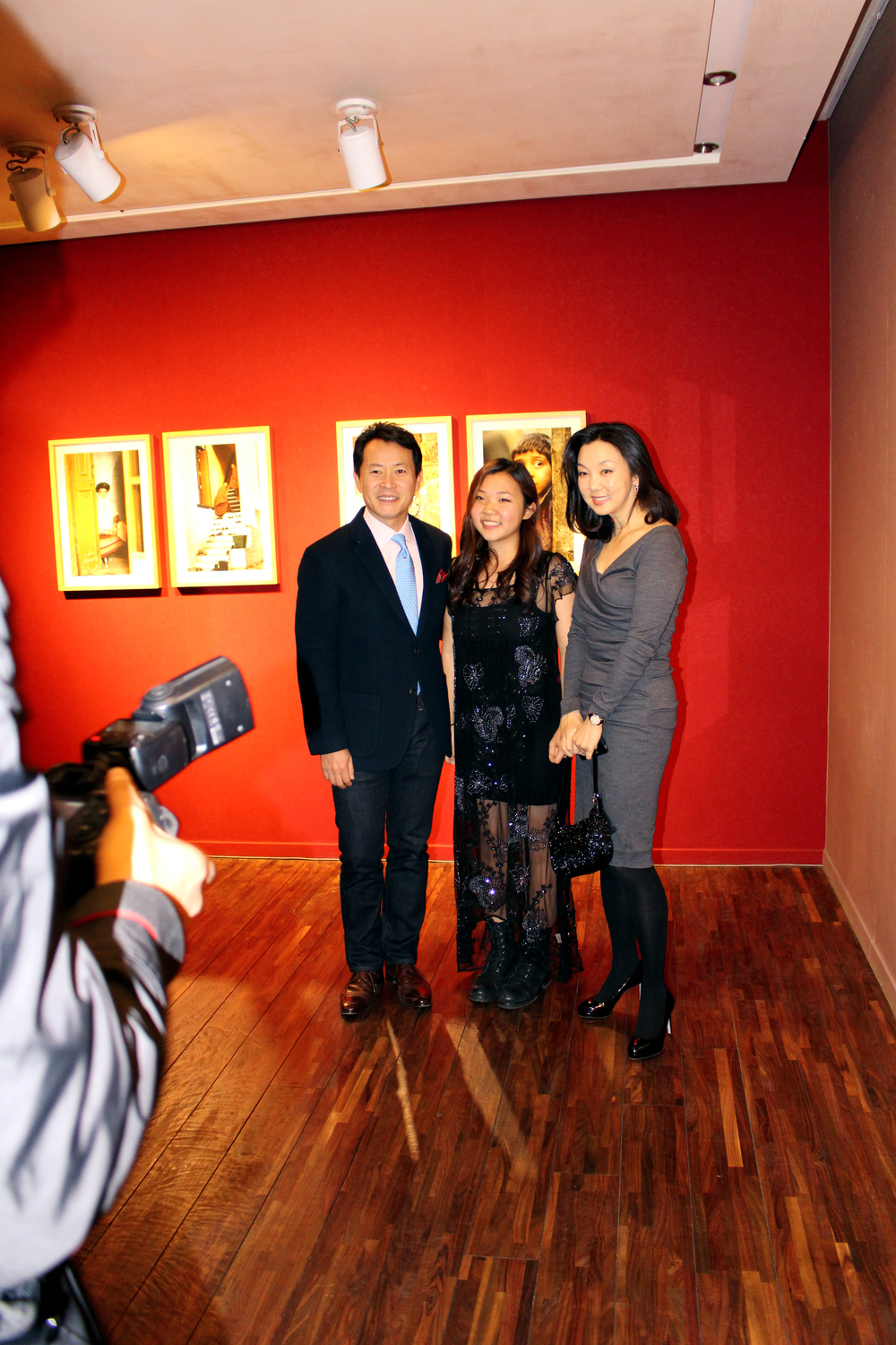 With my parents on the opening night at Gallery Mark, Nov. 2014