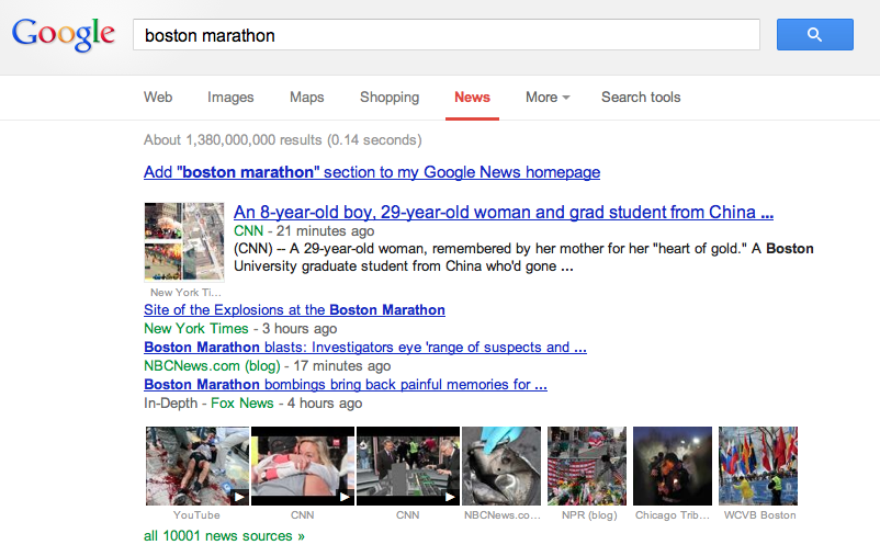 "10001 news sources from the search ""boston marathon"""