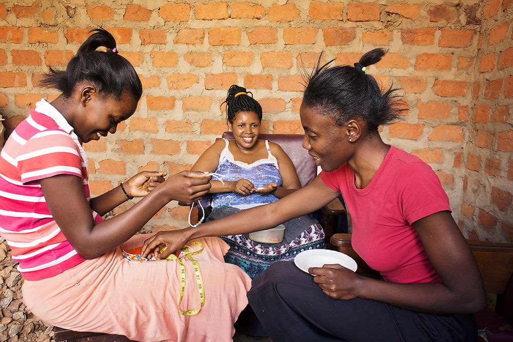Some of the ladies hard at work in Uganda.
