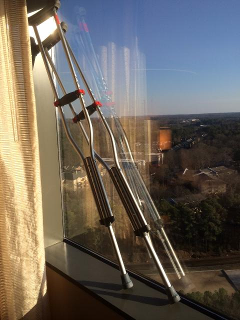 I left  my crutches in the hotel in Atlanta. I bet they find someone who needs them.