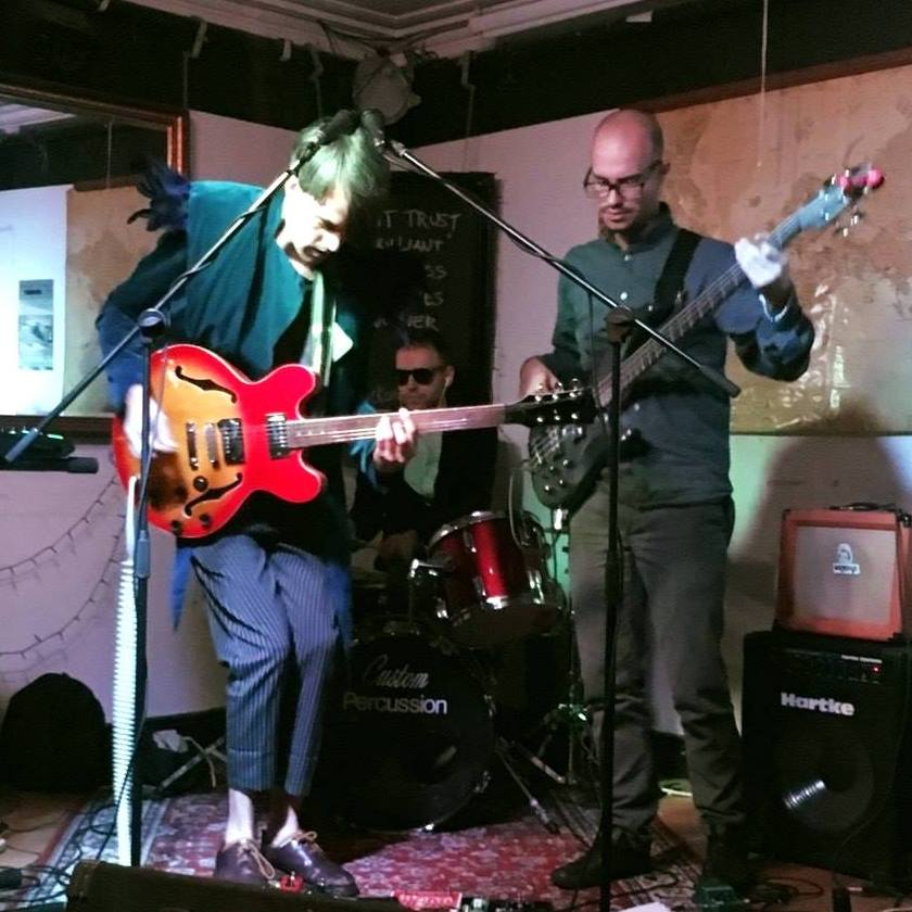"""Temporal Comet 2017, with Francesco """"Carry"""" Carrer on bass, and David Pugh on drums"""
