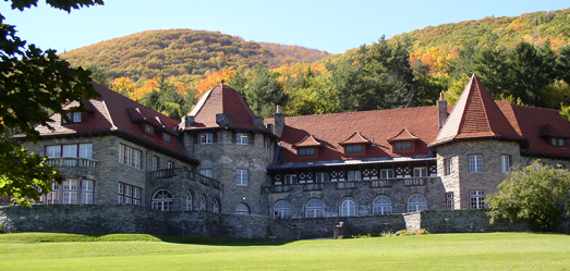 Southern Vermont College's Everett Mansion in autumn.
