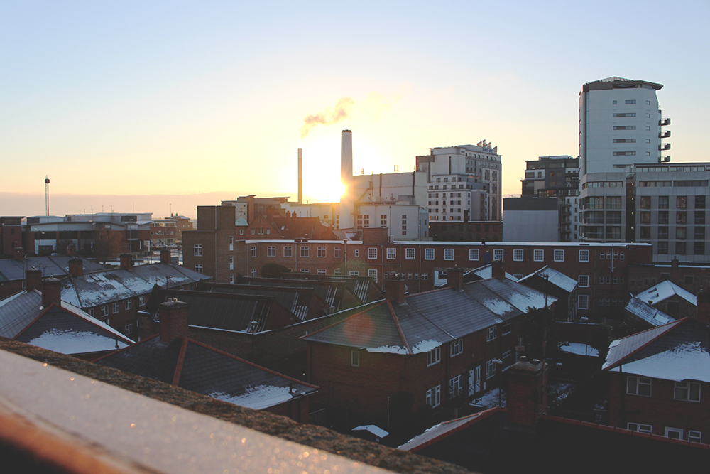 A pause in January, Nottingham snowy roofs, Tori's Tales