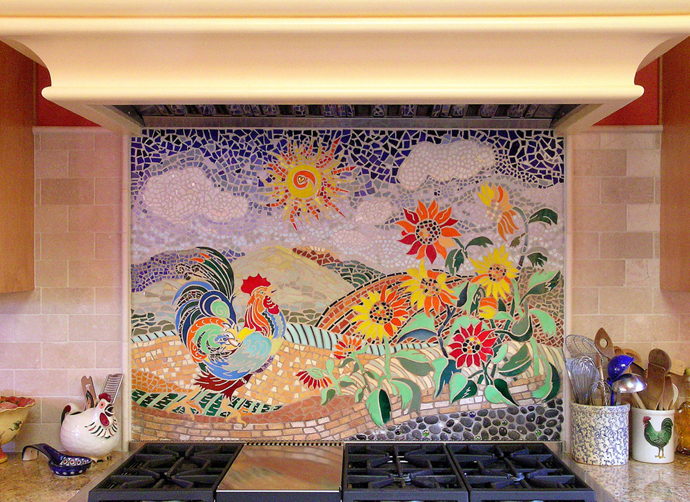 Custom Kitchen Mosaic Rooster backsplash, 3x4' Glazed ceramic tile: client home in Santa Barbara, CA