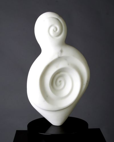 Curves of Life, 16 x 8 x 8, Marble with granite base