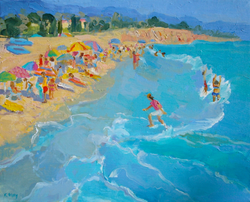 East Beach High Tide by Kathleen Elsey 16 x 20