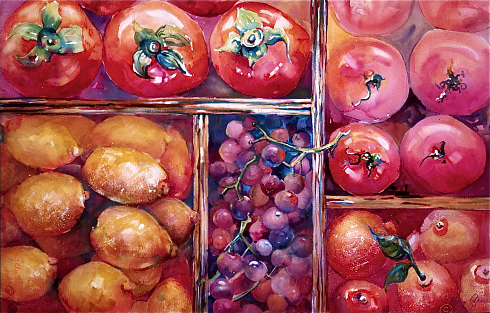 COMPARTMENTALIZED  Watercolor  30 x 48 inches, Edible Series