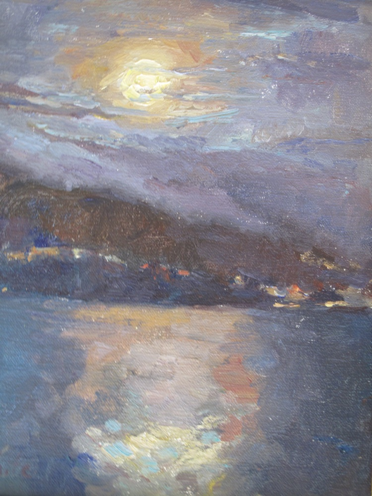 Moonrise Over Montecito  Oil    10 x 8