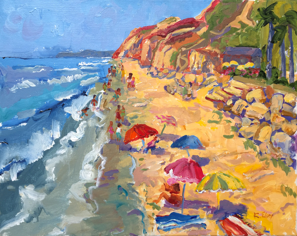 Hendry's Beach, High Tide, 16 x 20 , acrylic on canvas
