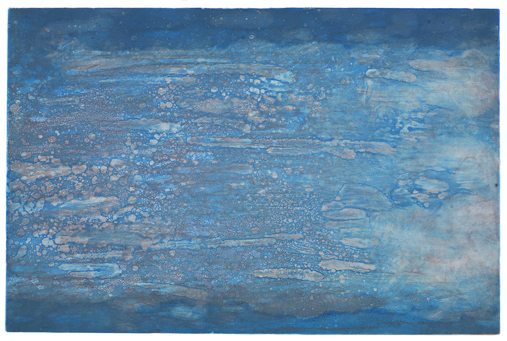 Blue Dazzle, Viscosity Monotype, 24 x 16 in