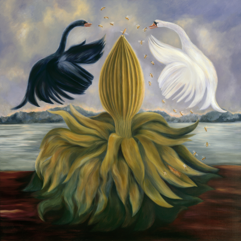 """Swan Song"", oil on panel, 34 3/4 x 34 1/2 in"