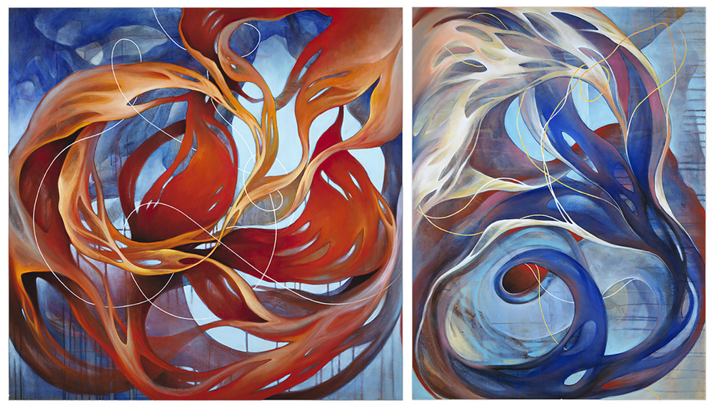 "Oracle 1&2  Diptych 48""x48"" and 36""x48"" Oil on Linen"