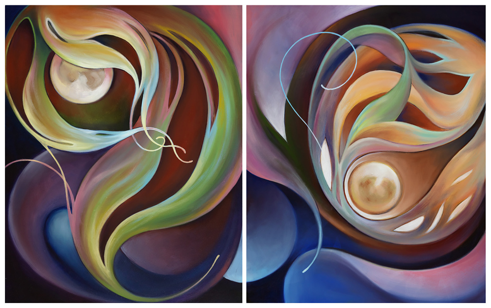 "Begin Again 1 & 2  Oil on Paper mounted on wood 2 panels 16""x 20"" each"