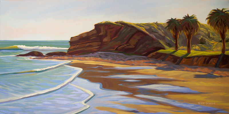 Low Tide at El Refugio, Oil on Canvas 20x48""