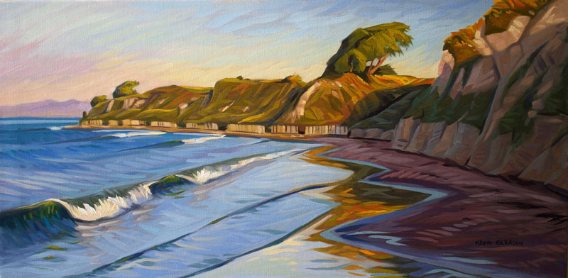First Light at Ellwood, Oil on Canvas 18x36""