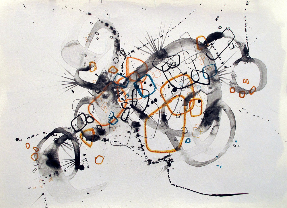"Circles 7          22"" x 36""        Ink, graphite, colored pencil, w/c crayon"