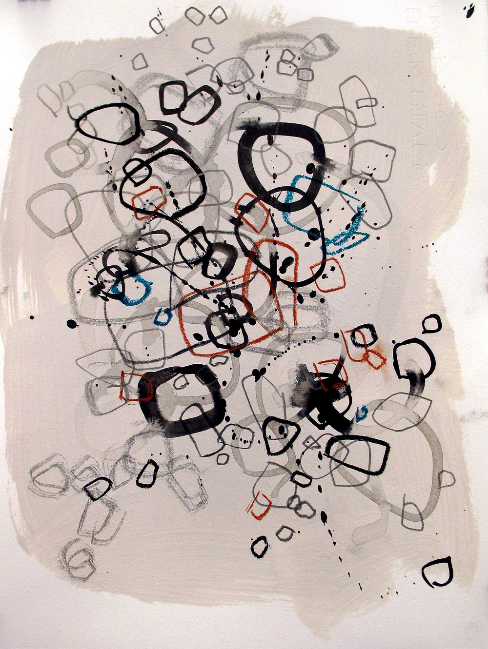 "Circles 9           15"" x 11""         Ink, graphite, colored pencil, w/c crayon"