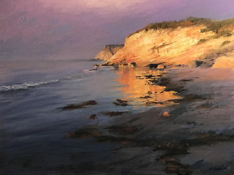 Sunrise Through the Fog, Gaviota Coast oil on canvas 18x24