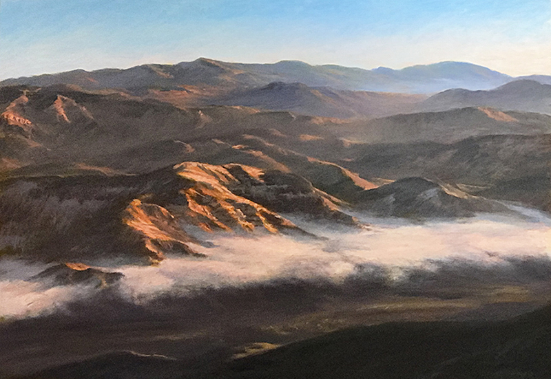 Light and Fog in the SB Backcountry oil own canvas 28x40