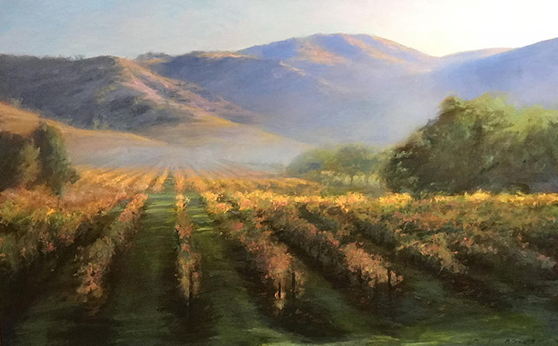 Morning Mist, California Vineyards oil on canvas 24x38