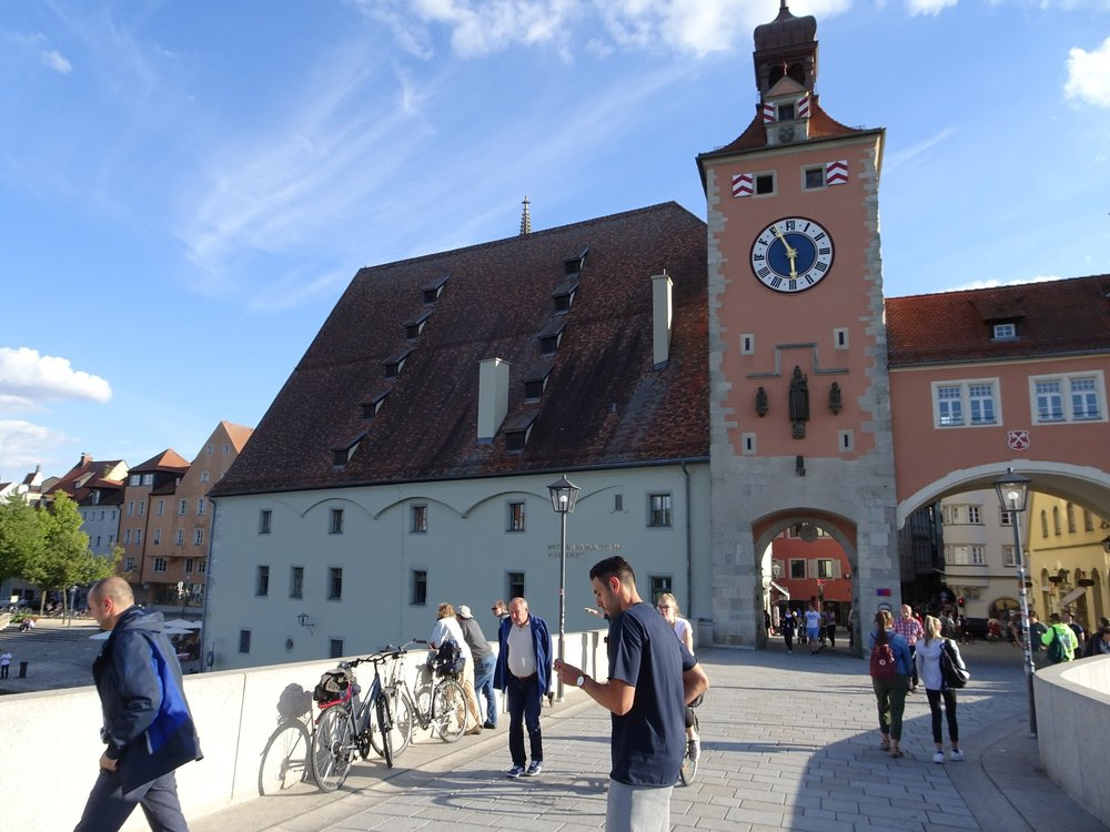You can see why the arch in the clock tower was too small for even early 20th Century traffic. The bridge is now pedestrian only but trams ran across here before the war.  To the left is the salt warehouse. Apparently the good burghers of Regensburg used to buy up most of the supply of salt in Europe each summer then control the sale and therefore the price.