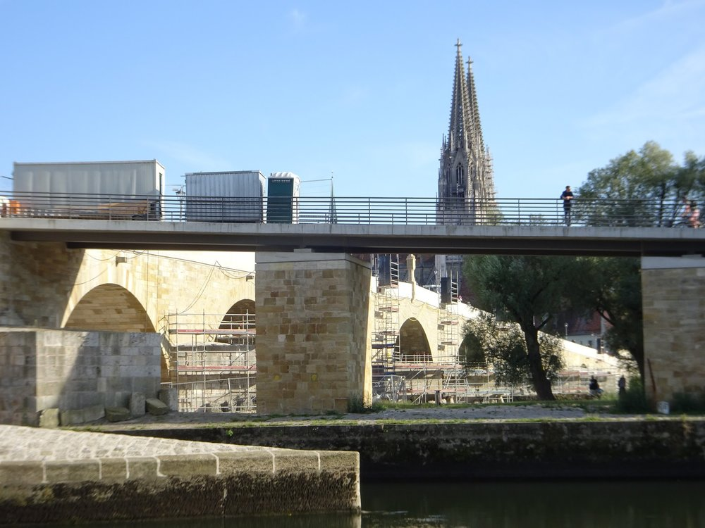 This view of the island ramp (obviously rebuilt) also shows the lattice spires on the Cathedral.