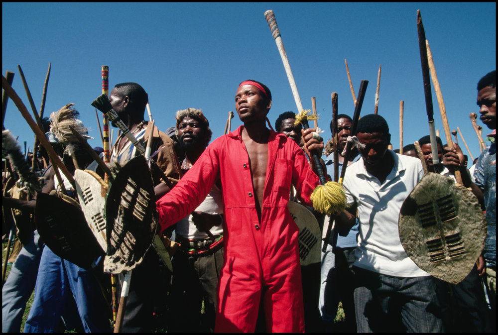 April 1994, Vryheid, South Africa --- Dozens of Zulu men protest against elections in the town of Vryheid.