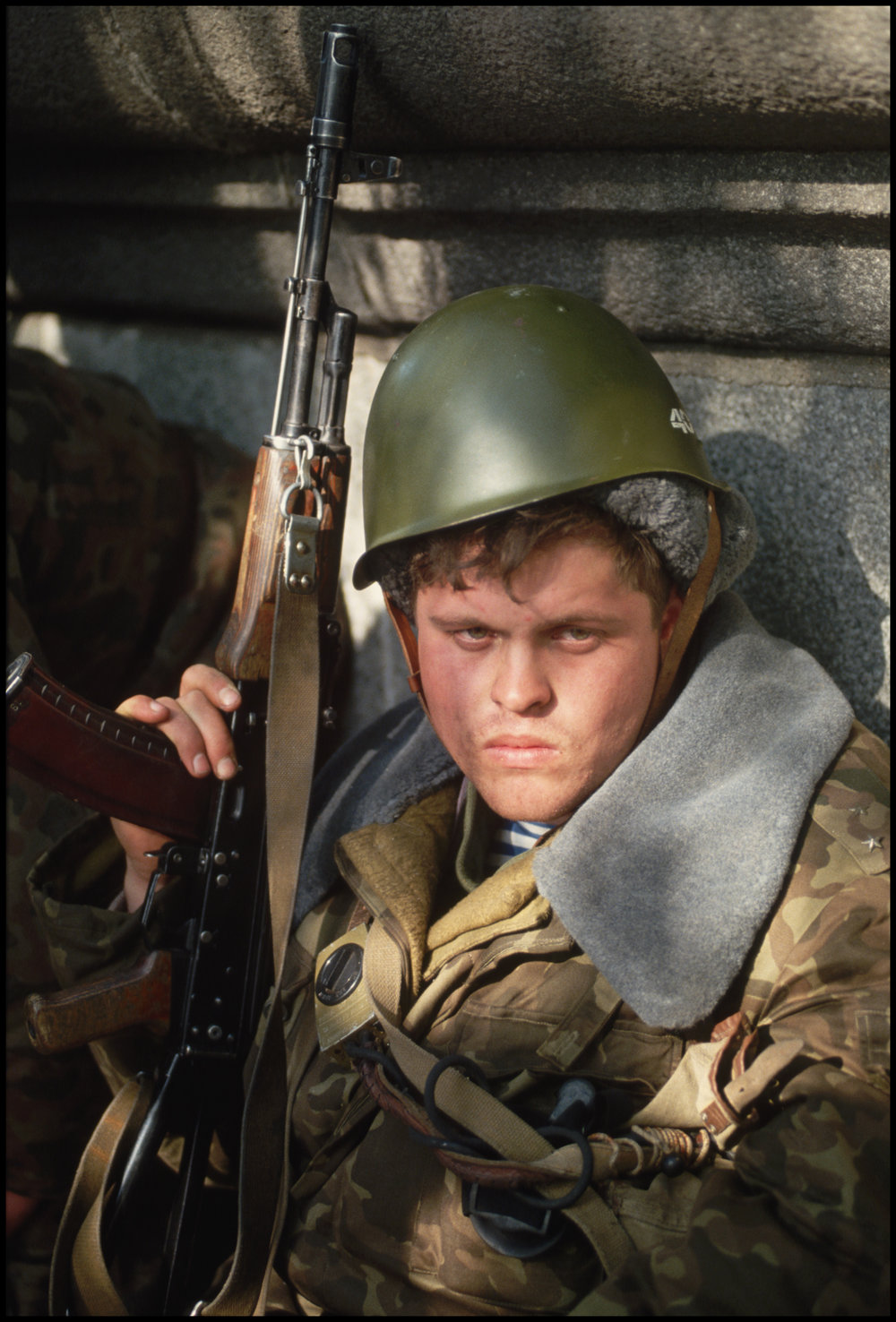 4 Oct 1993, Moscow, Russia --- Pro-Yeltsin soldier during the siege on the Russian Parliament in which Pro-Yeltsin forces fired on the parliament building in order to force out Communist hard liners