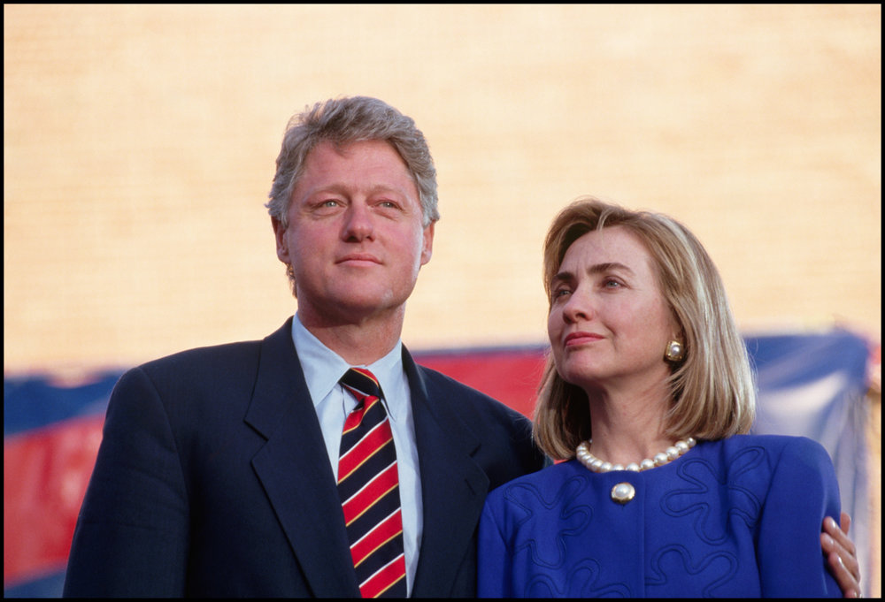 27 Oct 1992, North Carolina, USA --- Hillary stands beside Bill Clinton for support while he campaigns in North Carolina for the 1993 Presidential election.