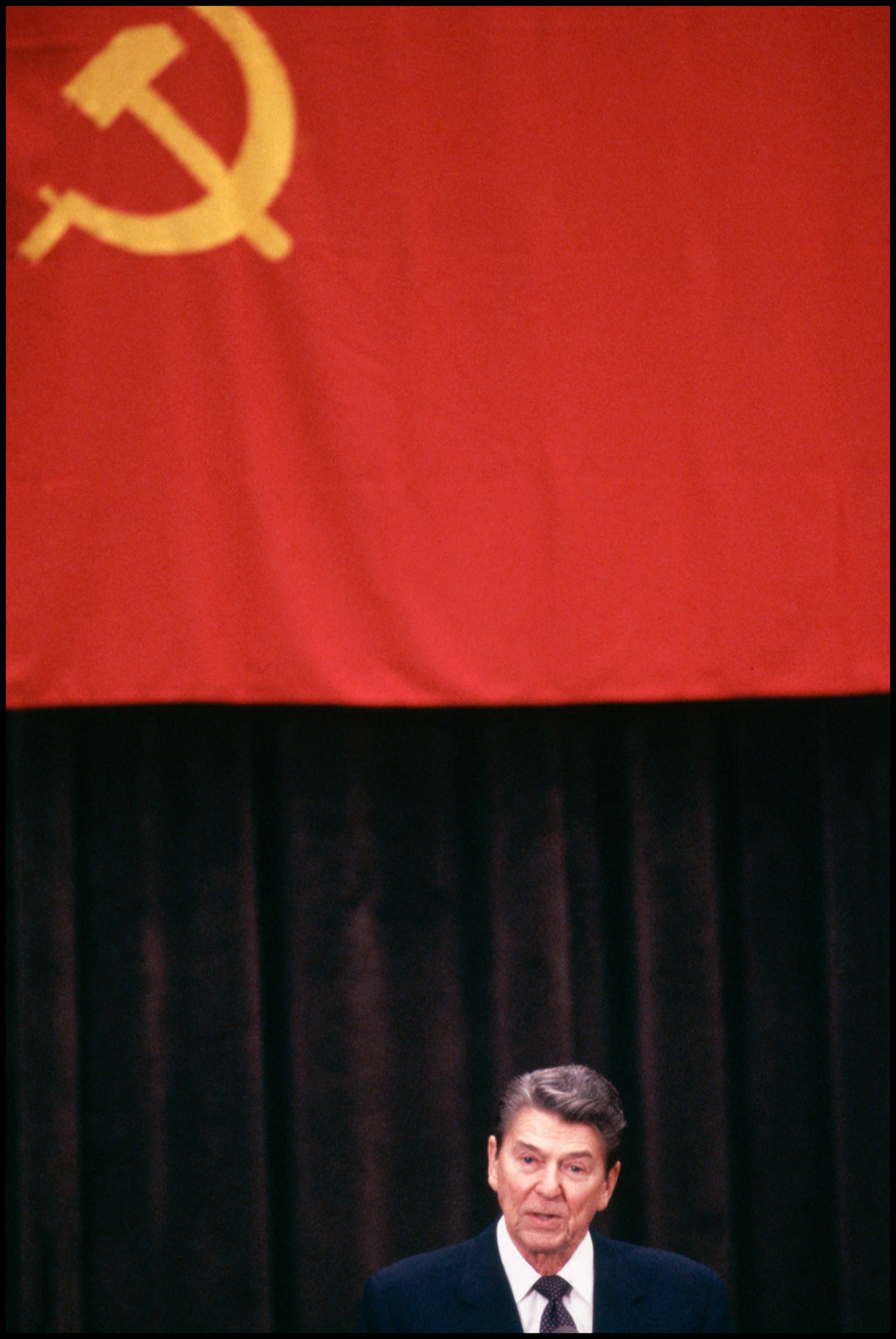 21 Oct 1985, Moscow, Russia --- United States president Ronald Reagan speaks at a US/USSR summit.