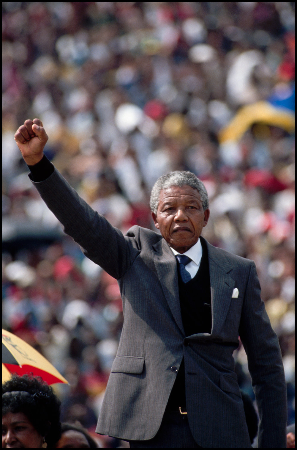 11 Feb 1992, Soweto, South Africa --- After his release from prison, popular figurehead Nelson Mandela holds a rally at Soccer City Stadium.