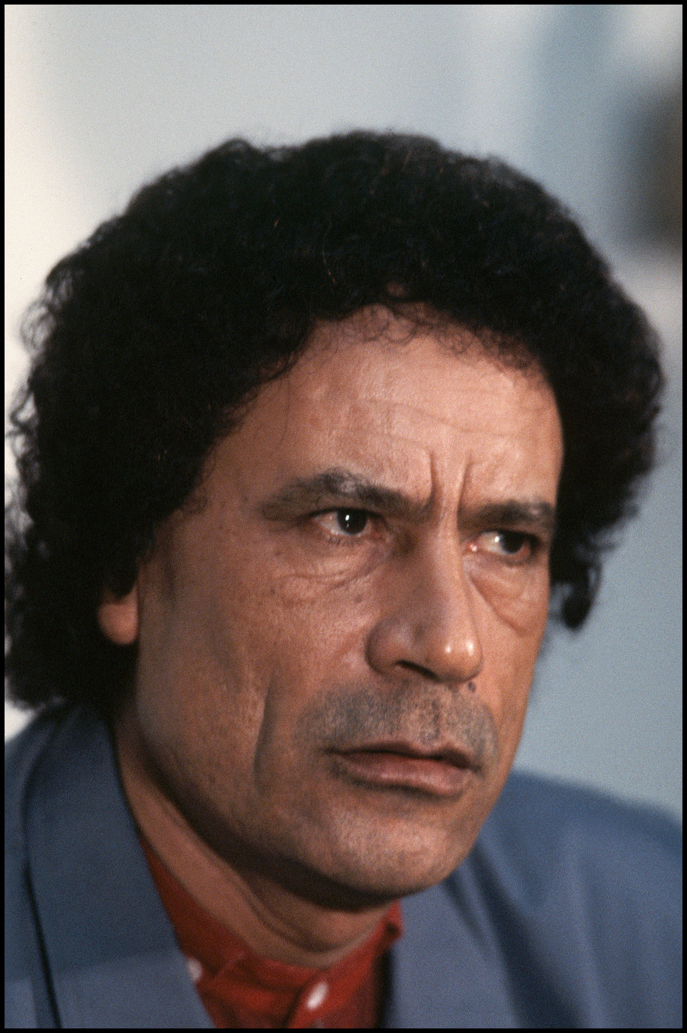 1986, Tripoli, Libya --- This photograph of Libyan political leader Muammar Qadaffi was taken during a time of heightened tension between Libya and the United States.