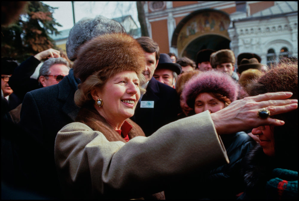 ca. 1987 --- British Prime Minister Margaret tours the Trinity Sergius Monastery during a state visit to the Soviet Union.