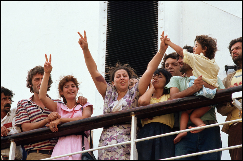 July 1990, Brindisi, Italy --- Albanian Refugees Arriving in Italy